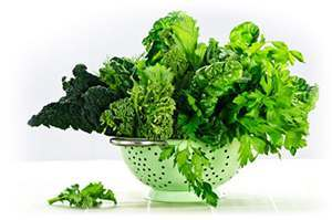 Dark green leafy vegetables in colander that are very helpful for healthy hair purposes