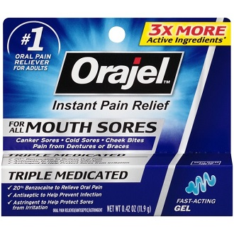 Orajel Mouth Sore Gel Topical Solution for Pain Relief