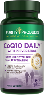 Purity Products COQ10 Daily with Resveratrol Supplement for Cardiovascular Health