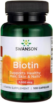 Swanson Vitamins Biotin Supplement for Healthy Skin, Nails and Hair