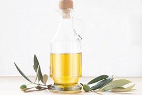Glass bottle of olive oil